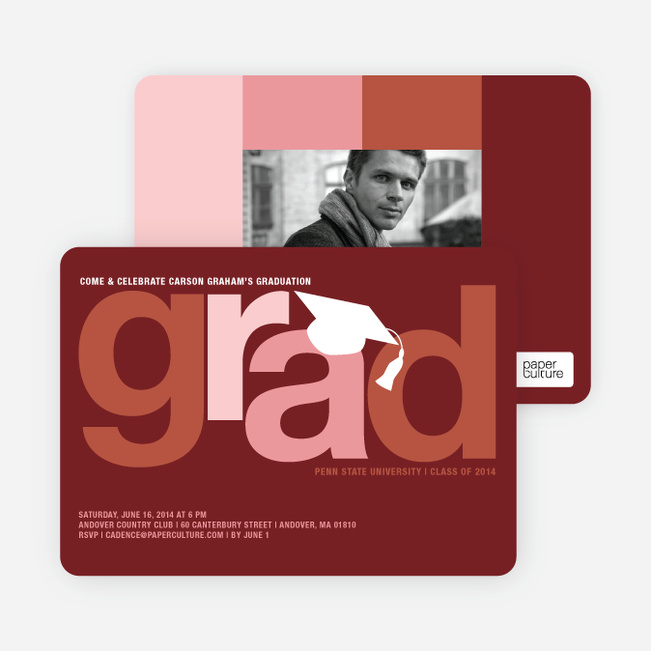 Pop Art Inspired Graduation Invitations - Sangria