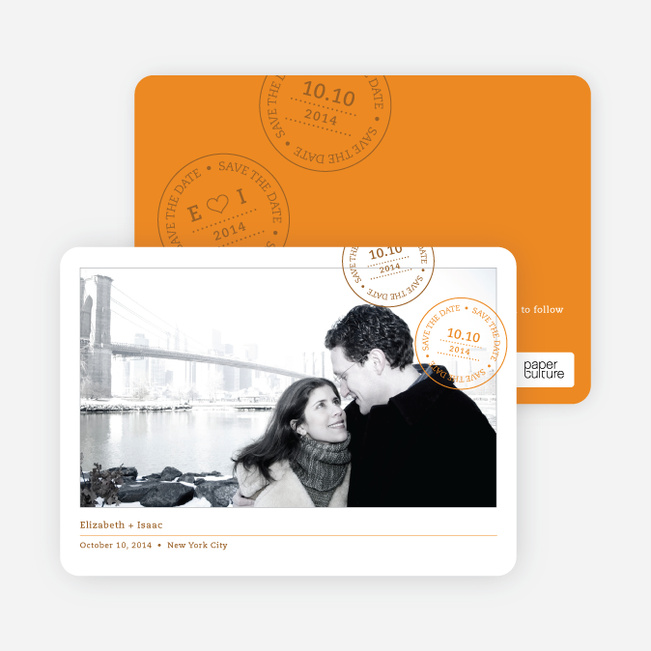Postcard Inspired Save the Date Cards - Cantaloupe