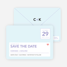 Postcard Inspired Save the Date Cards - Powder Blue