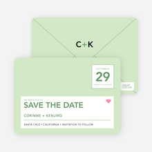 Postcard Inspired Save the Date Cards - Pale Celery