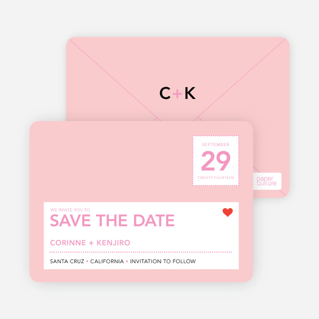 Postcard Inspired Save the Date Cards - Baby Pink