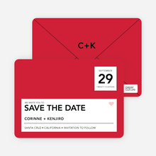 Postcard Inspired Save the Date Cards - Tomato Red