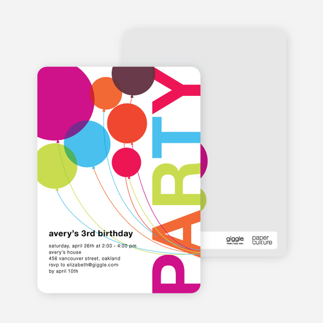 Rainbow Balloons Birthday Party Invitations Multi