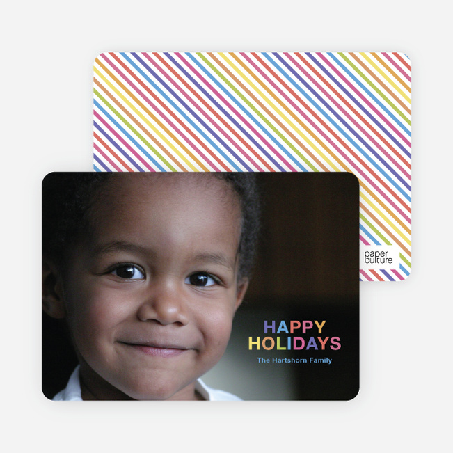 Rainbow Type Holiday Photo Cards - Fuschia