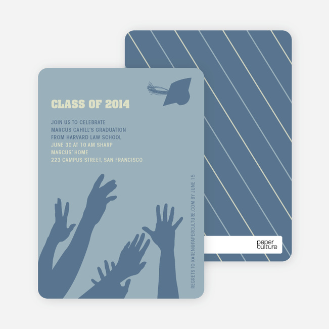Reach for the Stars Graduation Announcement and Invitation - Light Steel Blue