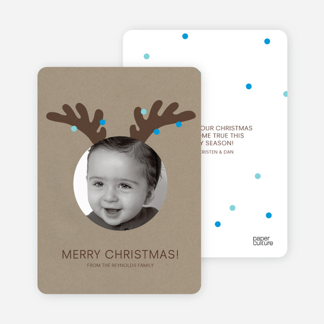 Reindeer Antlers Holiday Photo Cards - Light Blue