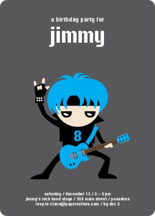 Rock Band Party Invitations - Electric Blue