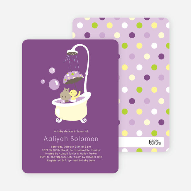 Rub a dub dub, a Hippo in the Tub Baby Shower Invitations - Amethyst