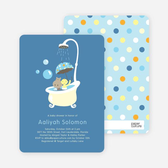 Rub a dub dub, a Hippo in the Tub Baby Shower Invitations - Cadet Blue