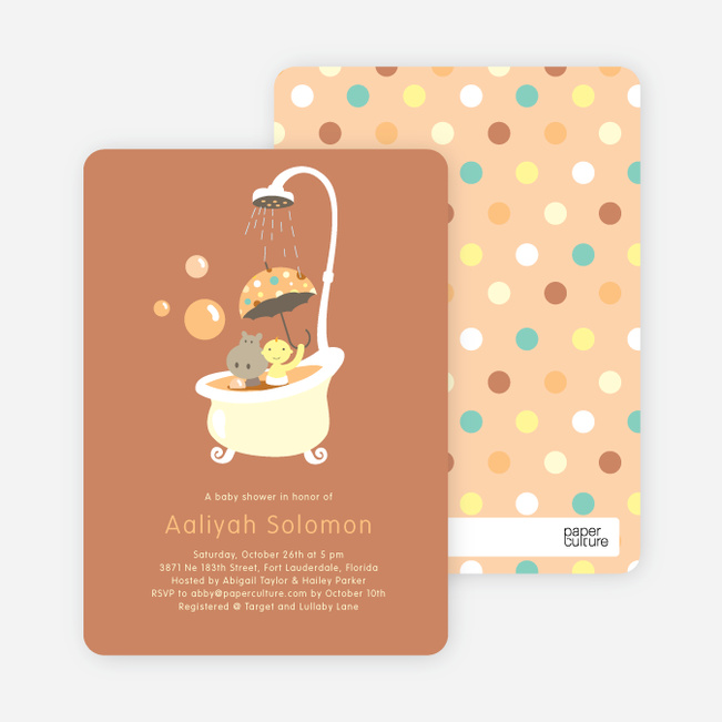 Rub a dub dub, a Hippo in the Tub Baby Shower Invitations - Cinnamon