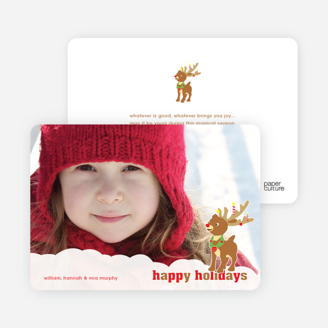Rudolph the Red Nosed Reindeer Christmas Cards - Tomato Red