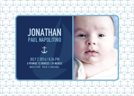 Sailor Birth Announcement - Sailor Blue