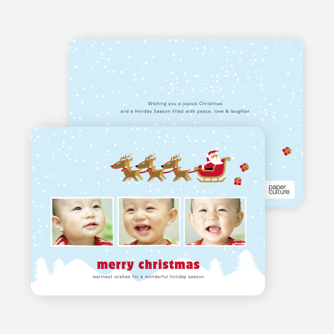 Santa & His Reindeer Delivering Holiday Memories - Arctic Blue