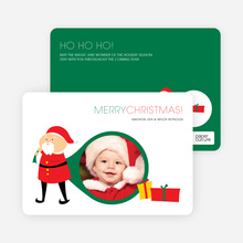Santa's Surprise: Holiday Photo Card - Tomato Red