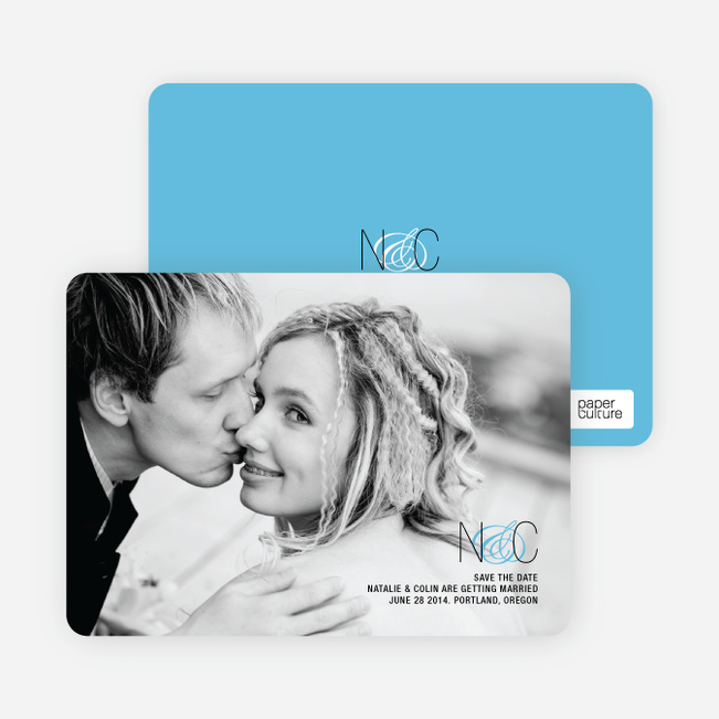 Save the Date Cards Featuring a Modern Ampersand Design - Cornflower Blue
