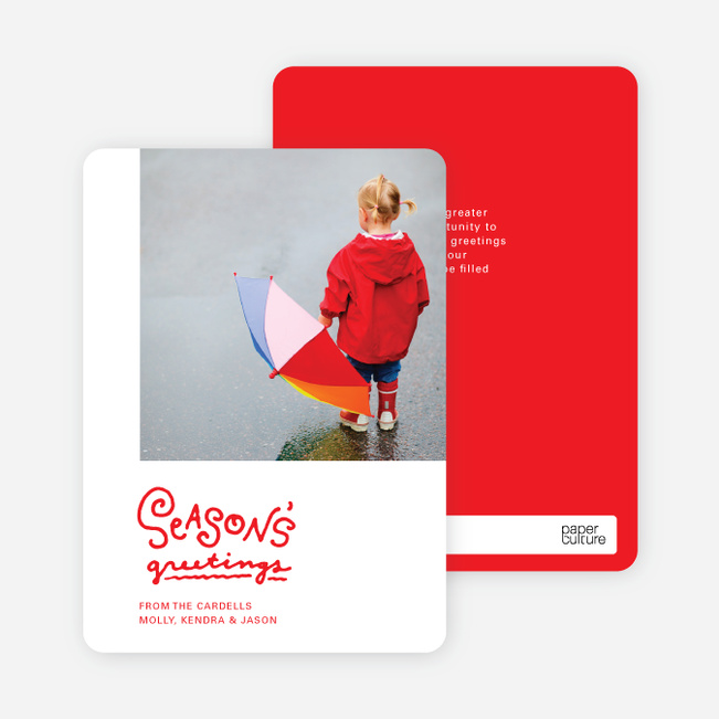 Season's Greetings Holiday Cards by the Script - Red