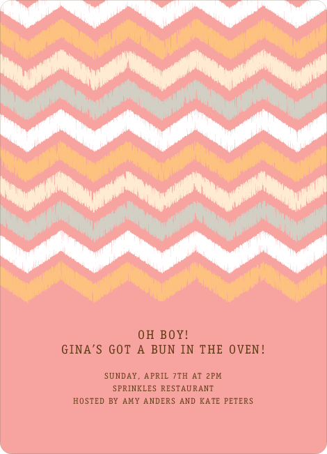 Zig Zag Pinterest Tag Baby Shower Invitations - Pink