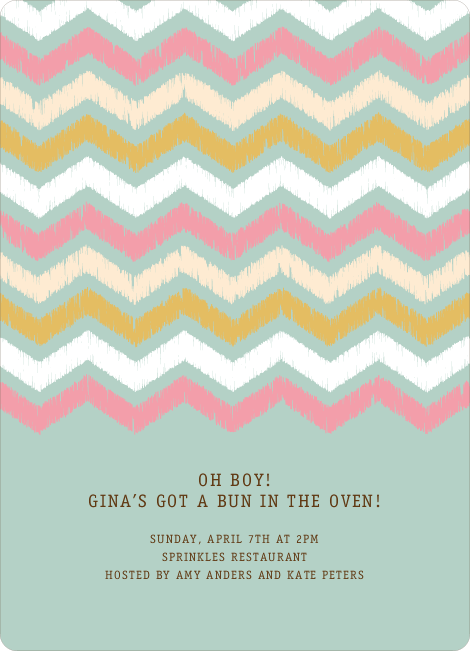 Zig Zag Pinterest Tag Baby Shower Invitations - Blue