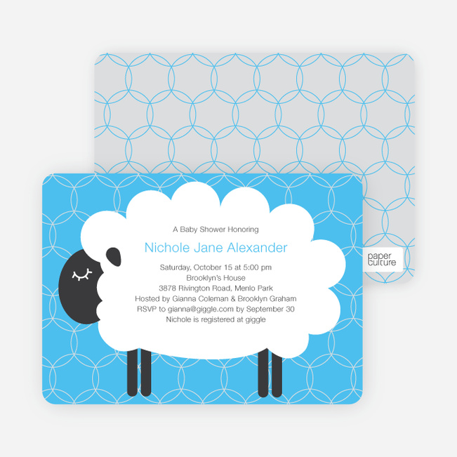 Sheep Themed Baby Shower Invitations - Light Blue