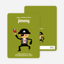 Shiver Me Timbers Pirate Birthday Invitation - Olive Green