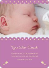 Shush, Rattle and Drool Birth Announcements - Amethyst