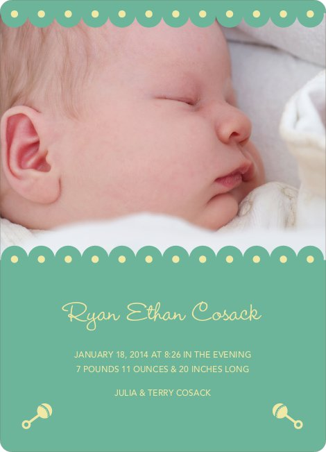 Shush, Rattle and Drool Birth Announcements - Jasmine