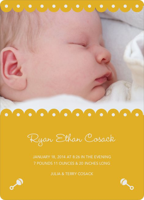 Shush, Rattle and Drool Birth Announcements - Mustard