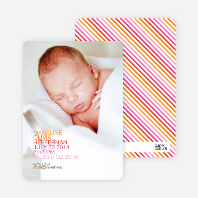 Simply Nounced Photo Birth Announcements - Pink