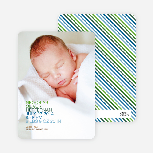 Simply Nounced Photo Birth Announcements - Blue