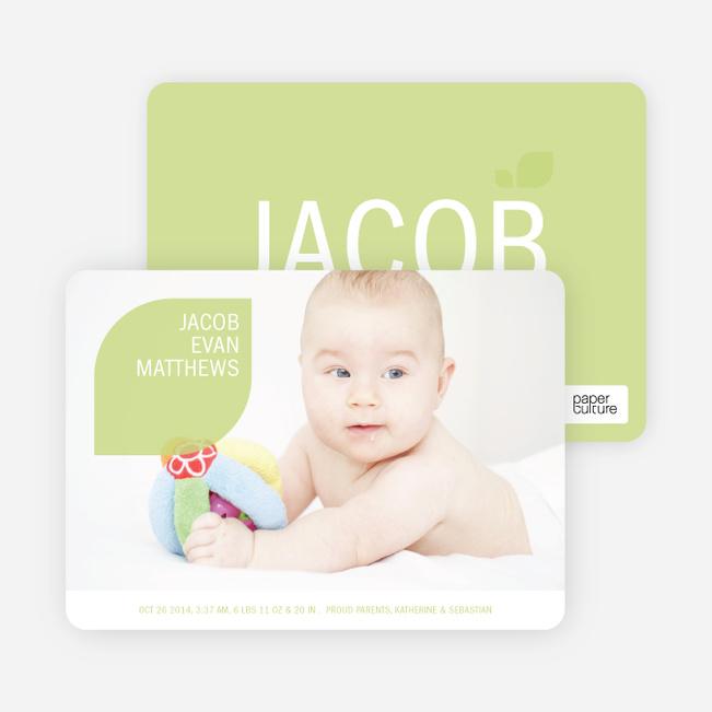 Simply Photos: Leaf Modern Baby Announcement - Light Mint