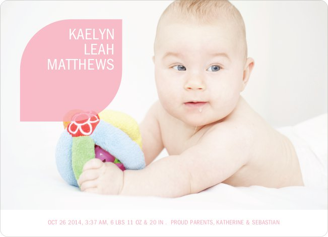 Simply Photos: Leaf Modern Baby Announcement - Baby Pink