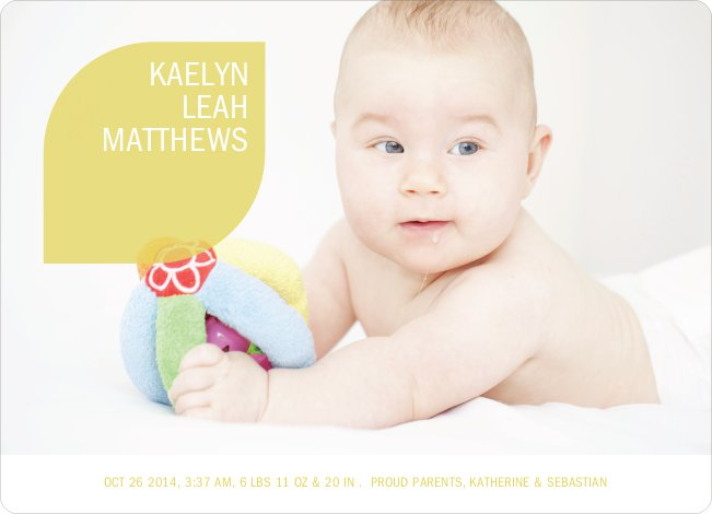 Simply Photos: Leaf Modern Baby Announcement - Mustard