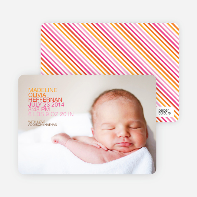 Modern Birth Announcements: Simply Photos - Tangerine