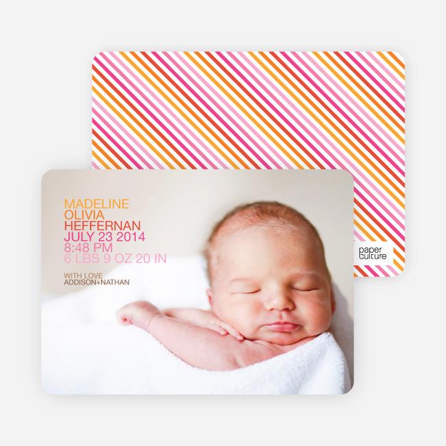 Simply Photos: 'Nounced Modern Baby Announcement - Tangerine