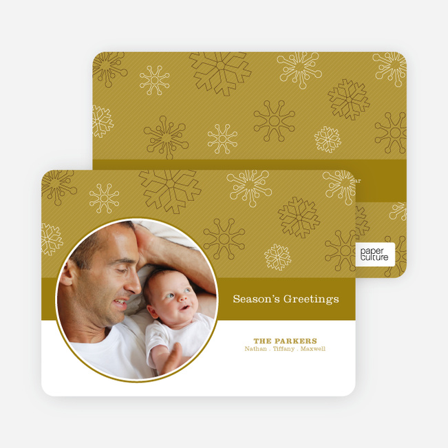 Season's Greetings Cards: Snowflakes Falling - Olive
