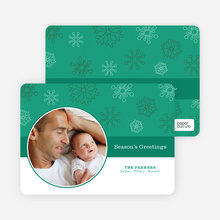 Season's Greetings Cards: Snowflakes Falling - Emerald