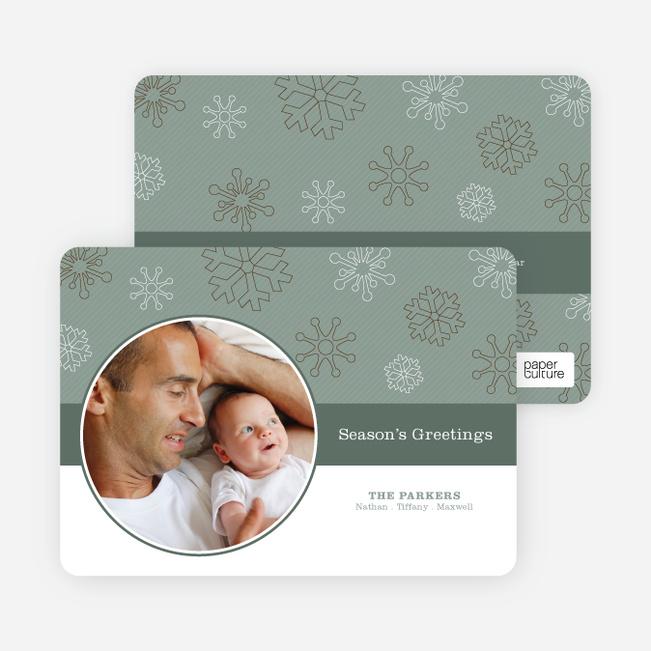 Snowflakes Falling Season's Greetings Photo Card - Slate
