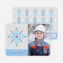 Snowman Snowflake Holiday Photo Card - Baby Blue
