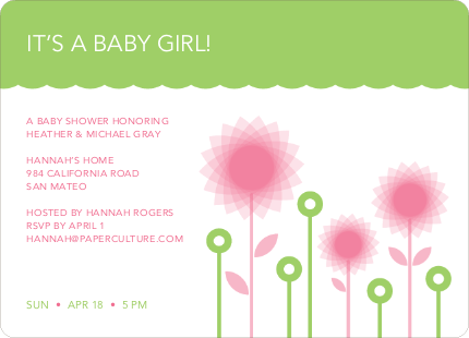 Spirograph Flower Baby Shower Invitation - Pale Green