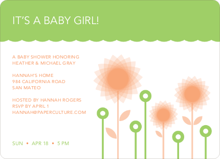 Spirograph Flower Baby Shower Invitation - Apricot