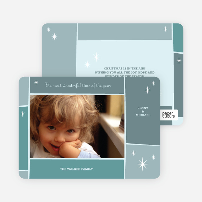 Star Light, Star Bright Holiday Photo Cards - Teal