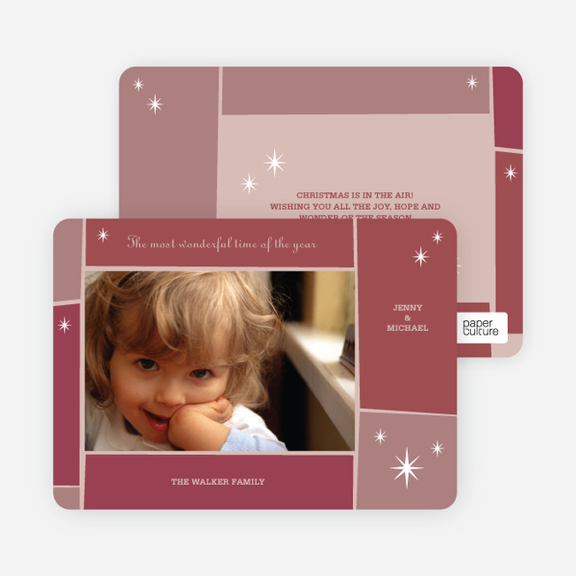 Star Light, Star Bright Holiday Photo Cards - Sangria