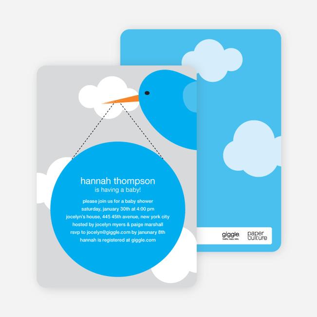 Stork Baby Shower Invitations - Light Gray