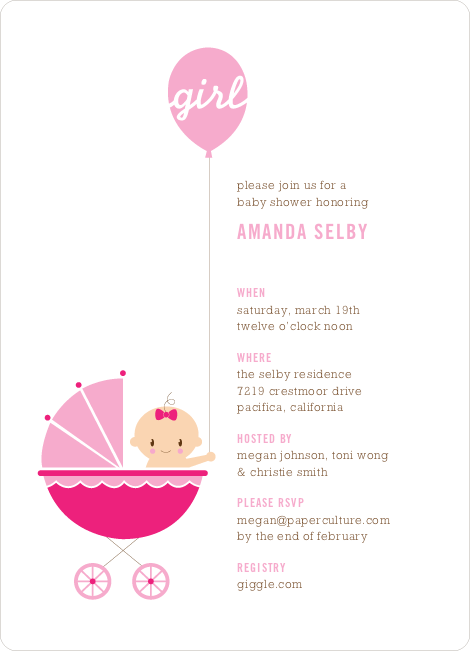 Stroller Peek–A–Boo Baby Shower Invitations - Pink Air