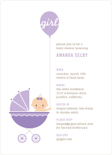 Stroller Peek–A–Boo Baby Shower Invitations - Lilac