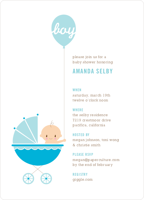Stroller Peek–A–Boo Baby Shower Invitations - High Sky Blue
