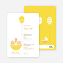 Stroller Peek-A-Boo Baby Shower Invitations - Lemon