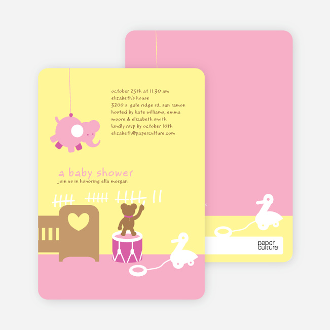 Stuffed Animals Take Over the Nursery Baby Shower Invitations - Carnation