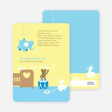 Stuffed Animals Take Over the Nursery Baby Shower Invitations - Sky Blue
