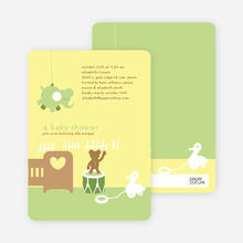 Stuffed Animals Take Over the Nursery Baby Shower Invitations - Keyline